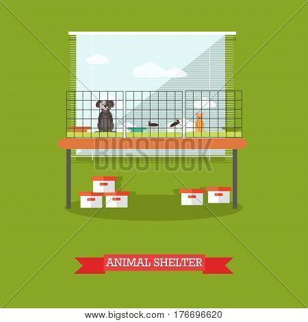 Animal shelter vector illustration. Cat and dogs in cages design elements in flat style.