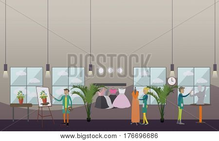 Vector illustration of fashion clothing stylist, artist painter and sculptor at work. Clothing design studio, art studio interior. Arts and crafts concept flat style design.