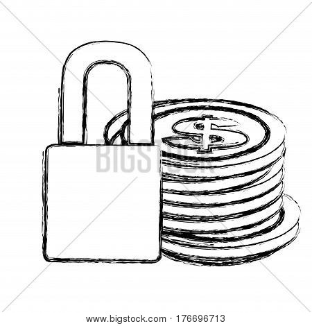 monochrome sketch of coins stacked and padlock vector illustration