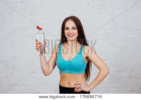 Beautiful Girl With Braces Drinks Fresh Water