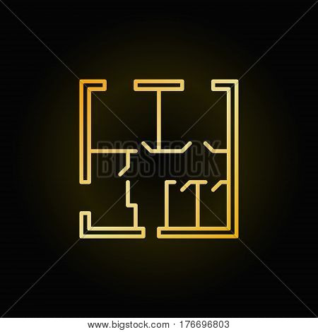 Apartment floor plan vector icon - outline golden square house plan sign on dark background