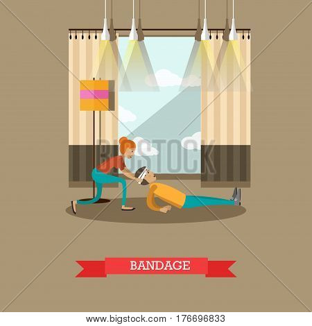 Vector illustration of woman bandaging injured head of lying on the floor man. First aid at home, bandage design element in flat style.