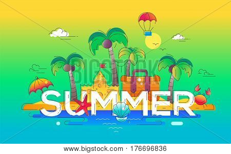 Summer - modern vector line travel illustration. Discover island paradise. Have a trip, enjoy your vacation. Be on a safe and exciting journey. Build sandcastles and swim in the ocean, kick back and rest.