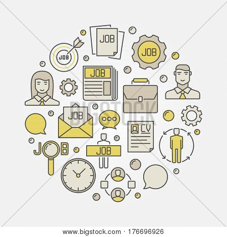 Employment and job illustration - vector round colorful symbol