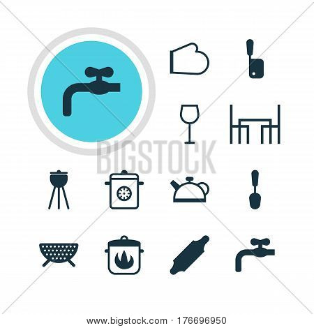 Vector Illustration Of 12 Kitchenware Icons. Editable Pack Of Butcher Knife, Wine, Sieve And Other Elements.