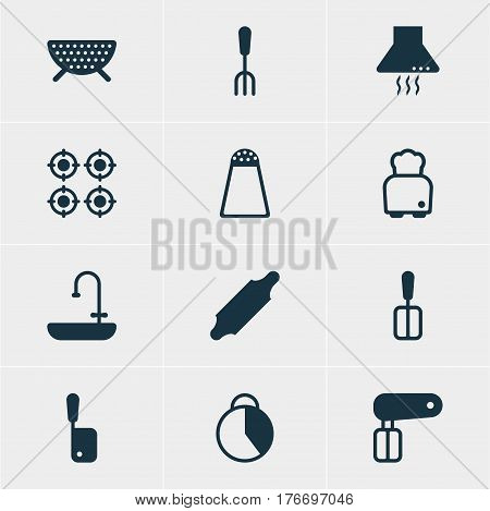 Vector Illustration Of 12 Restaurant Icons. Editable Pack Of Timekeeper, Pepper Container, Fork And Other Elements.