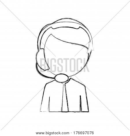 monochrome sketch of half body man of call center vector illustration