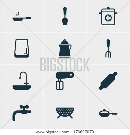 Vector Illustration Of 12 Restaurant Icons. Editable Pack Of Steamer, Sieve, Bakery Roller And Other Elements.