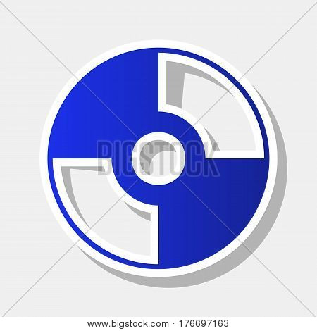 Vector CD or DVD sign. Vector. New year bluish icon with outside stroke and gray shadow on light gray background.