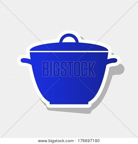 Saucepan simple sign. Vector. New year bluish icon with outside stroke and gray shadow on light gray background.
