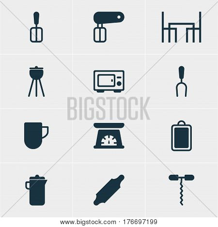 Vector Illustration Of 12 Kitchenware Icons. Editable Pack Of Dinner Table, Jug, Barbecue Tool And Other Elements.