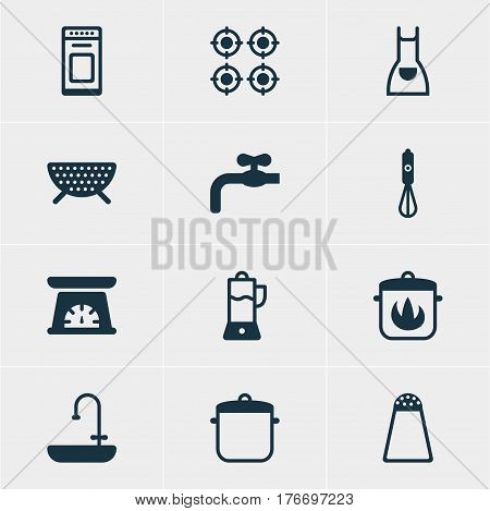 Vector Illustration Of 12 Restaurant Icons. Editable Pack Of Smock, Stewpot, Sieve And Other Elements.