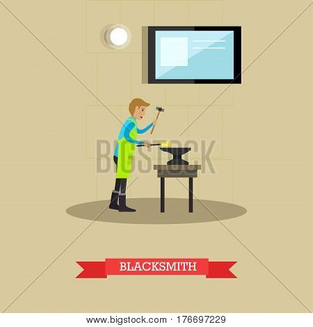 Vector illustration of blacksmith forging metal on anvil using hammer. Metalworking, forging concept design element in flat style.