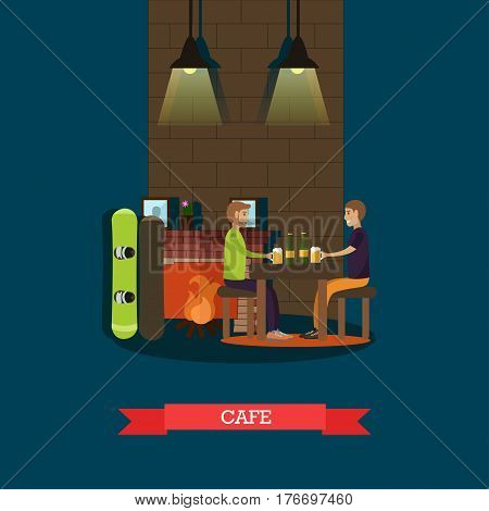 Mountain cafe vector illustration. Snowboarders males sitting at fireplace and drinking beer flat style design element.