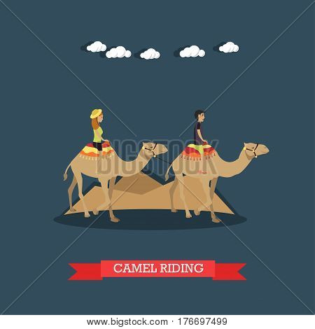 Vector illustration of tourists young couple riding camels. Trip to Egypt concept flat style design element.