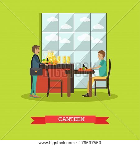 Vector illustration of students having lunch break. Canteen concept design element in flat style.