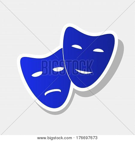 Theater icon with happy and sad masks. Vector. New year bluish icon with outside stroke and gray shadow on light gray background.