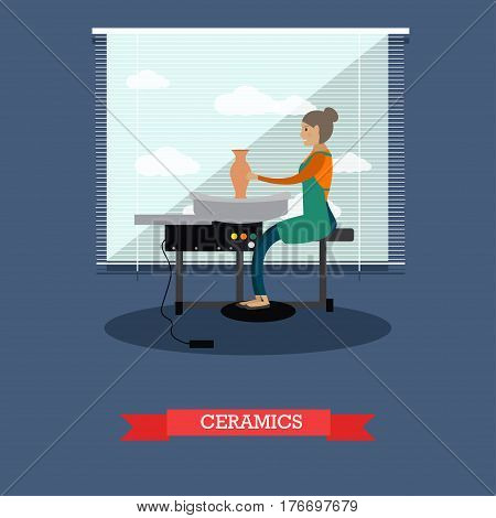 Vector illustration of potter creative young woman at work. Crafts professional ceramist. Pottery wheel. Ceramics, pottery concept design element in flat style.