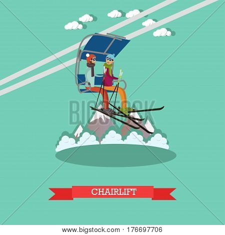 Vector illustration of young couple going up on ski lift. Downhill skiing, ski resort. Chairlift concept design element in flat style.