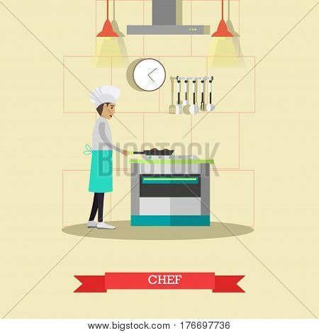 Vector illustration of chef cooking meals using frying pan. Restaurant kitchen interior, kitchen utensils and appliances, flat style design elements.