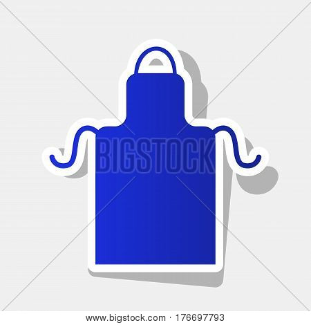Apron simple sign. Vector. New year bluish icon with outside stroke and gray shadow on light gray background.