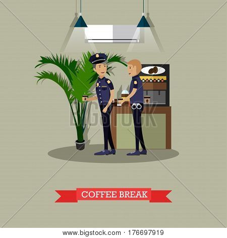 Vector illustration of policemen taking coffee break. Police station interior, coffee automatic machine. Flat style design.