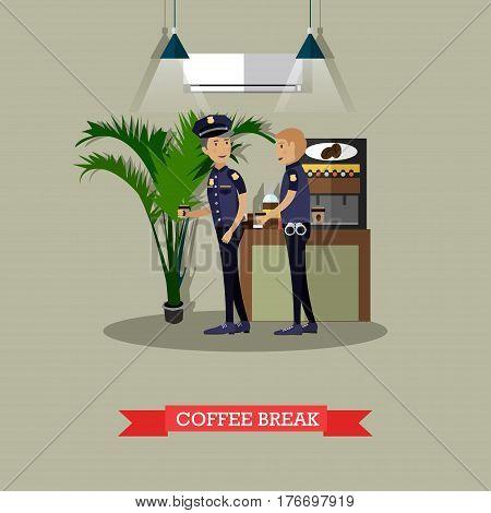 Vector illustration of policemen taking coffee break. Police station interior, coffee automatic machine. Flat style design.