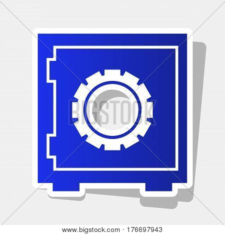 Safe sign illustration. Vector. New year bluish icon with outside stroke and gray shadow on light gray background.