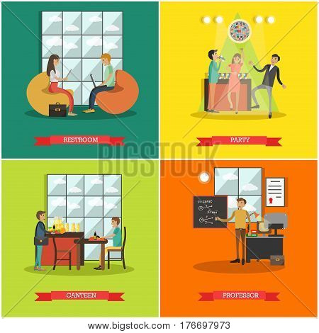 Vector set of college posters. Common room, Disco party, Canteen and Professor flat style design elements.