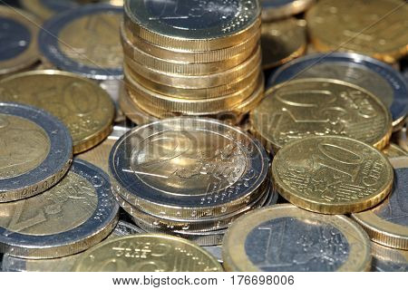 Stacks of Euro coins of different denominations