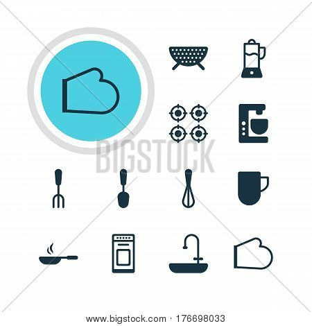 Vector Illustration Of 12 Cooking Icons. Editable Pack Of Mixer, Sieve, Frying Pan And Other Elements.
