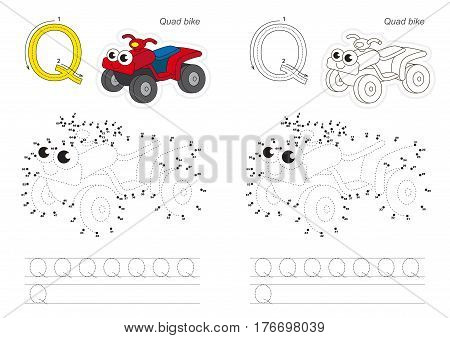 Vector exercise for alphabet with kid educational games to learn handwriting, with easy game level for preschool children. Connect dots by numbers. Tracing worksheet for letter Q. Cool quad bike.