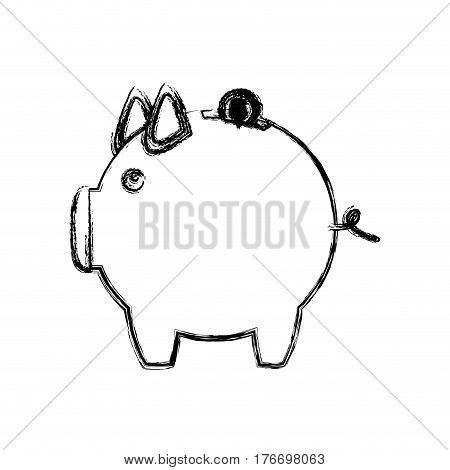 monochrome sketch of money box in shape of piggy vector illustration