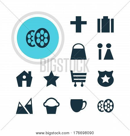 Vector Illustration Of 12 Location Icons. Editable Pack Of Briefcase, Film, Cross And Other Elements.