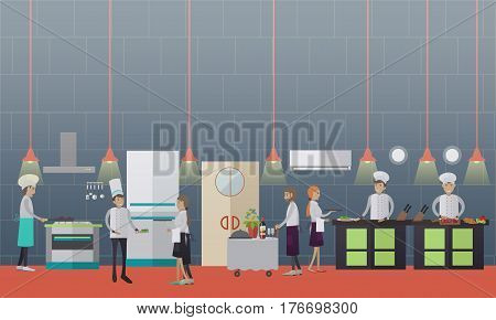 Vector illustration of cooks preparing food, waitresses getting ready meals. Restaurant kitchen interior, kitchen utensils and appliances, flat style design elements.