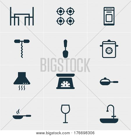 Vector Illustration Of 12 Cooking Icons. Editable Pack Of Measuring Tool, Tablespoon, Extractor Appliance And Other Elements.