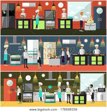 Vector set of cook posters, banners. Restaurant people chef, cooks preparing food, baking pastry, waiter and waitress getting ready meals flat style design elements.
