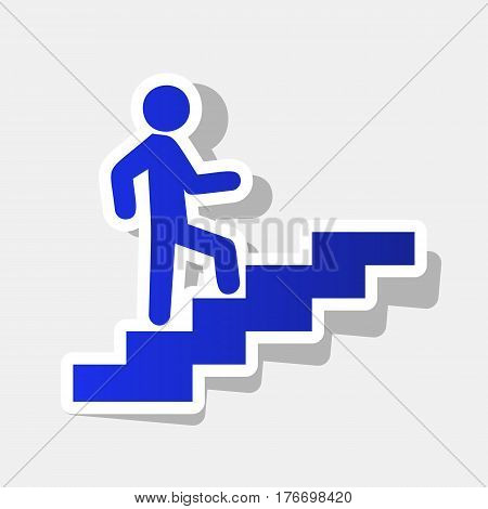 Man on Stairs going up. Vector. New year bluish icon with outside stroke and gray shadow on light gray background.