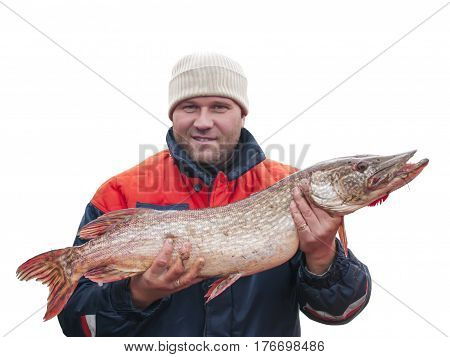 Fisherman with big fish - Pike (Esox Lucius) isolated on white