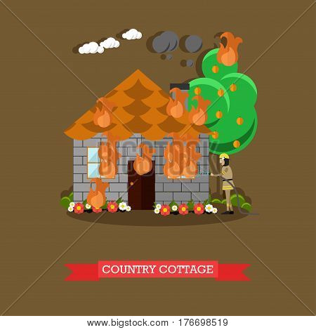 Vector illustration of firefighter in protective clothing and helmet extinguishing fire in country house. Burning country house flat style design element.