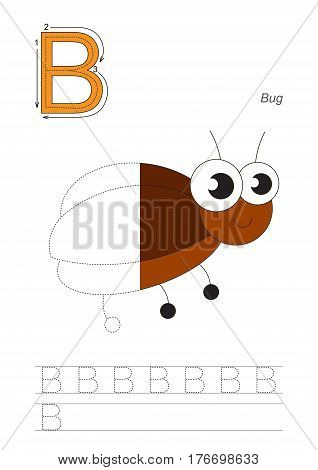 Vector exercise illustrated alphabet, kid gaming and education. Learn handwriting. Half trace game. Easy educational kid game. Tracing worksheet for letter B. Funny Beetle.