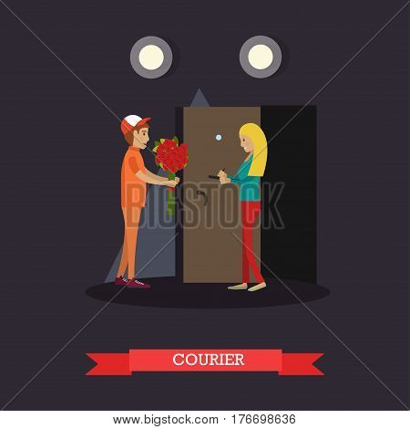 Vector illustration of delivery man delivering bouquet of flowers to young woman. Delivery courier flat style design element.