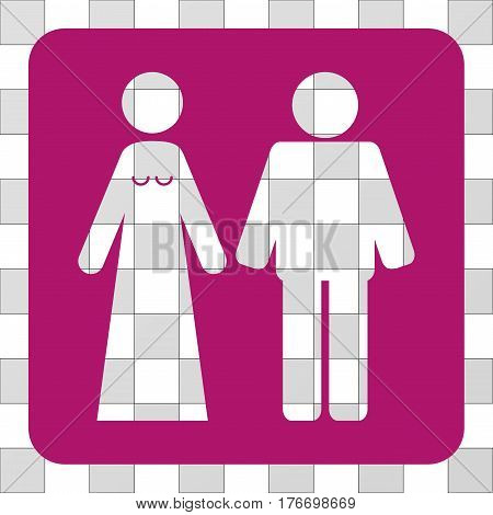 Married Groom And Bribe square icon. Vector pictogram style is a flat symbol hole inside a rounded square shape, purple color.