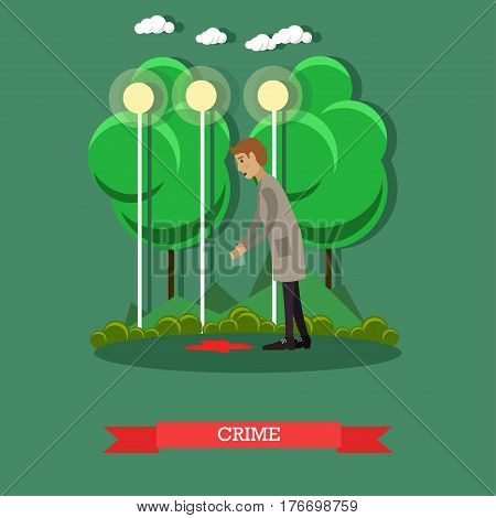 Crime scene investigation vector illustration. Detective doing a crime scene search flat style design element.