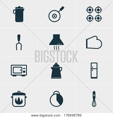 Vector Illustration Of 12 Restaurant Icons. Editable Pack Of Handmixer, Extractor Appliance, Oven Mitts Elements.