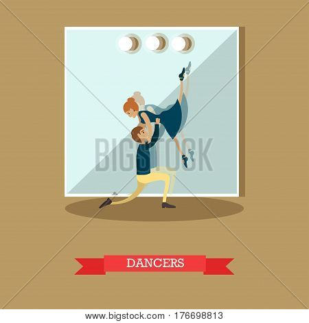 Vector illustration of dancing young couple, ballroom or ballet studio interior. Dancers dancing ballet, classical dance concept design element in flat style.