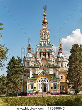Russian Orthodox cathedral in Panfilov Park, Almaty, Kazakhstan