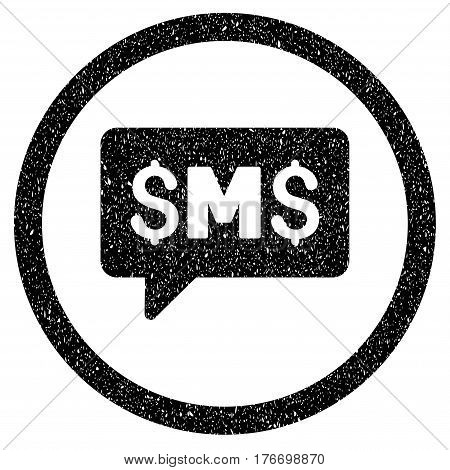 Rounded SMS Message rubber seal stamp watermark. Icon symbol inside circle with grunge design and unclean texture. Unclean vector black sticker.