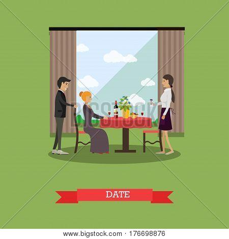 Vector illustration of loving couple having dinner at restaurant. Romantic date flat style design element.