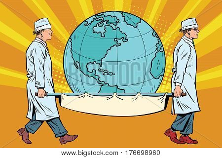 medics carry the planet Earth on a stretcher. Pop art retro vector illustration